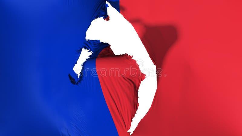 损坏的巴黎市旗子 皇族释放例证