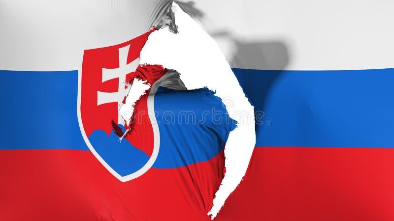 损坏的斯洛伐克旗子 皇族释放例证