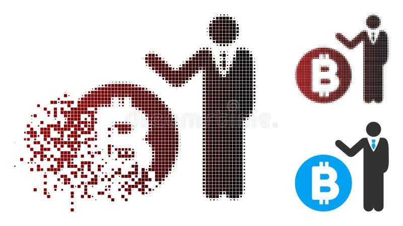 损坏的映象点半音Bitcoin银行家象 向量例证