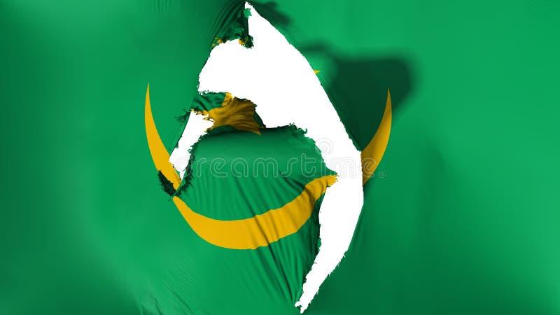 损坏的毛里塔尼亚旗子 向量例证