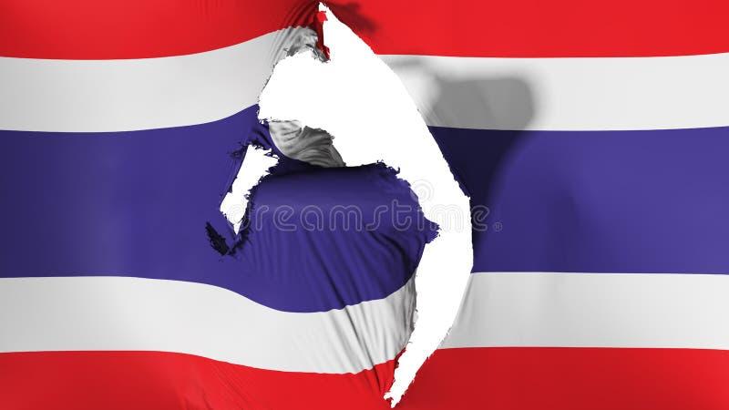损坏的泰国旗子 向量例证