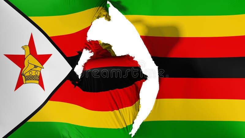 损坏的津巴布韦旗子 向量例证