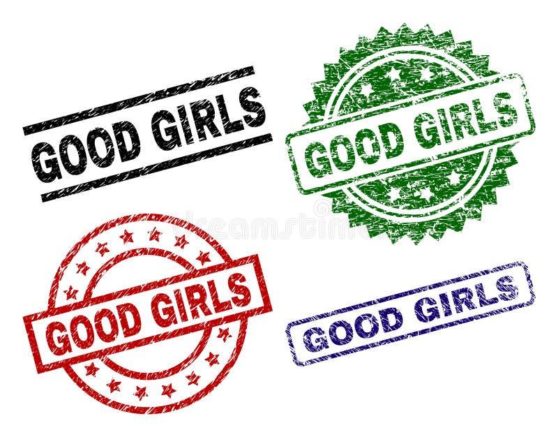 损坏的织地不很细好女孩封印邮票 库存例证