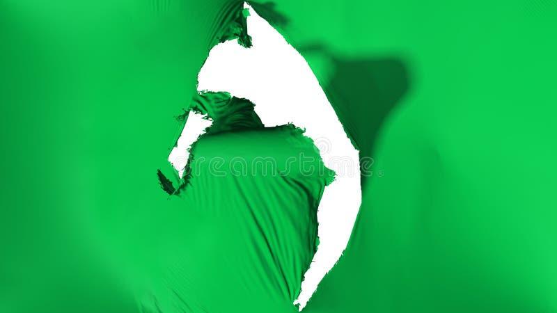 损坏的绿色旗子 库存例证