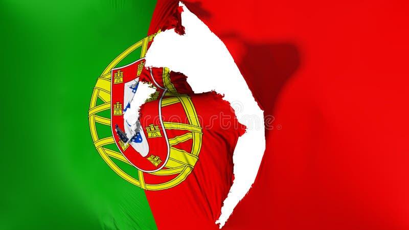 损坏的葡萄牙旗子 库存例证