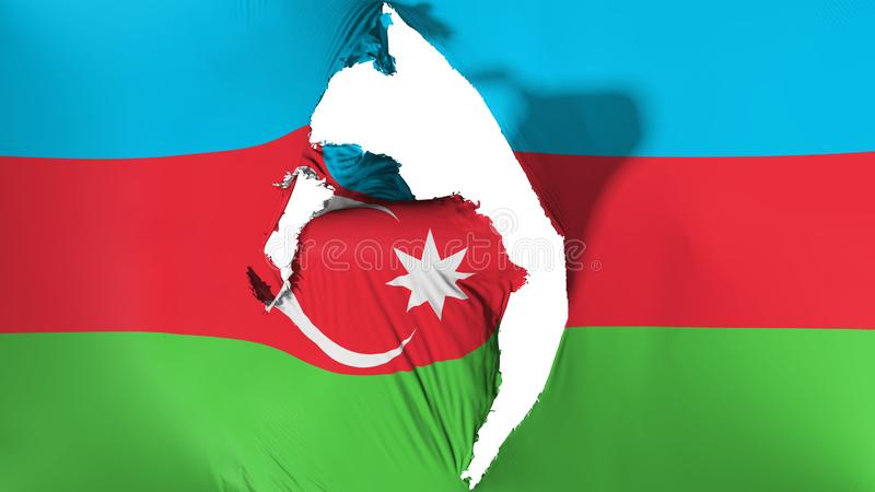 损坏的阿塞拜疆旗子 皇族释放例证
