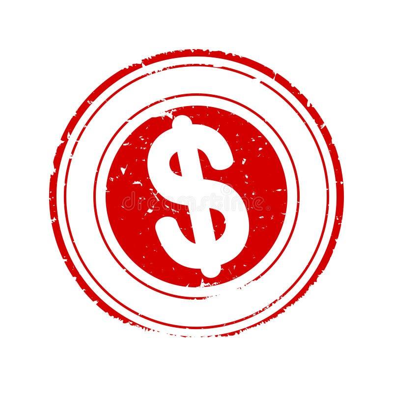 损坏围绕与美元的符号-传染媒介的红色邮票 库存例证