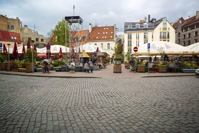 换在正方形的纪念品在老城市 拉脱维亚里加 免版税库存图片