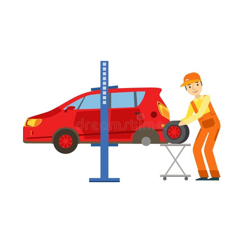 更换在车库,汽车修理车间服务例证的微笑的技工一个轮胎 皇族释放例证