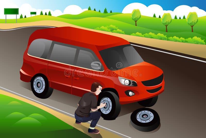 更换泄了气的轮胎的人 向量例证
