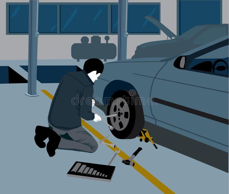 更换轮胎的技工 向量例证