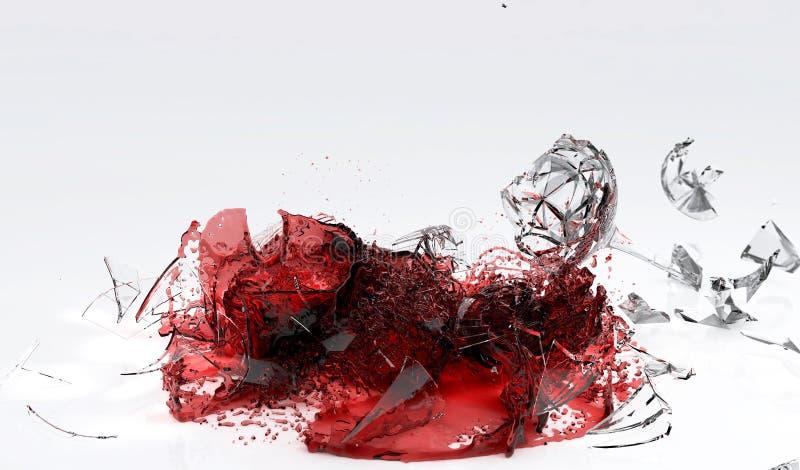 捣毁在地板上的葡萄酒杯 向量例证