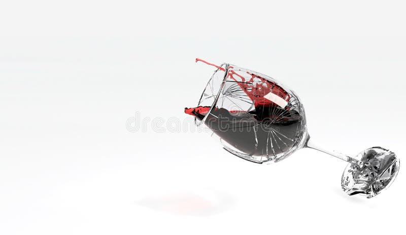 捣毁在地板上的葡萄酒杯 库存例证