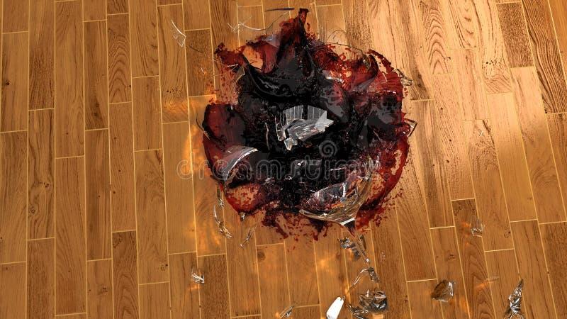 捣毁在硬木地板上的葡萄酒杯 库存例证