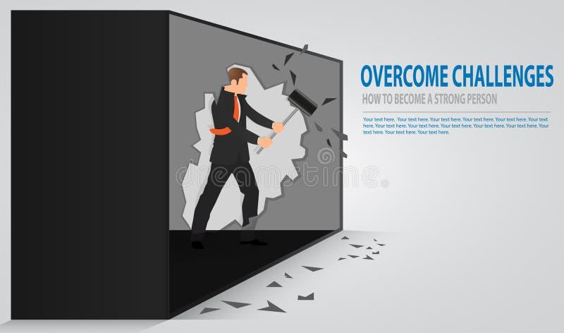 崩裂老混凝土墙的人 捣毁有锤子的商人墙壁 划分障碍的概念和达到目标 库存例证