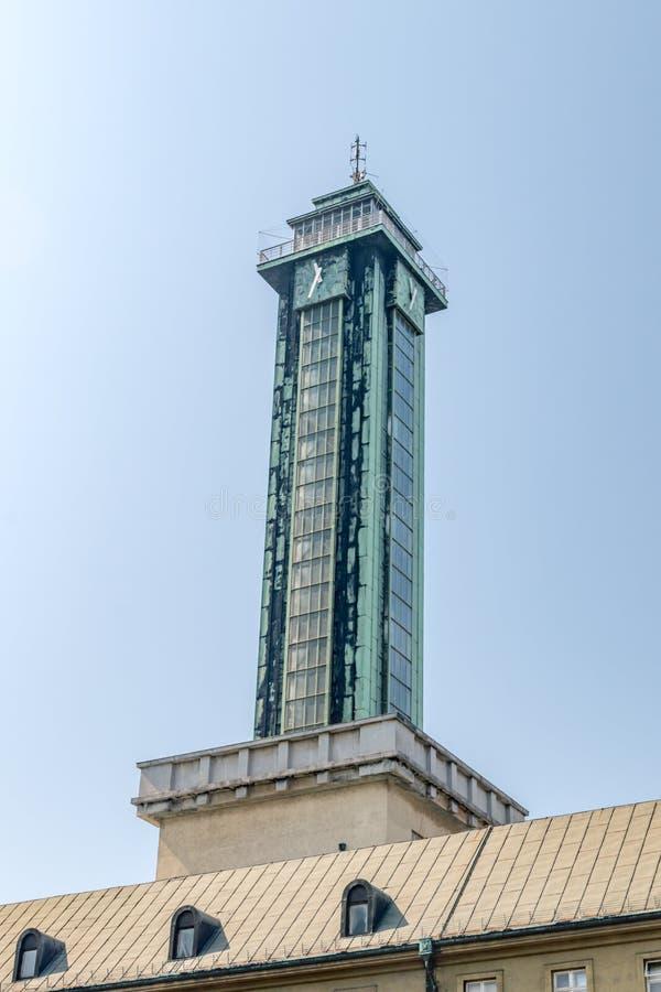 捷克俄斯特拉发新市政厅钟楼 图库摄影