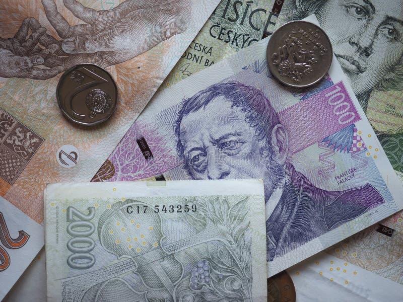 捷克克朗纸币和硬币,捷克 库存照片