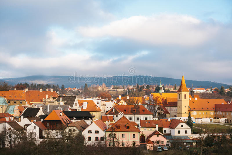 捷克克鲁姆洛夫镇的美妙地美丽的景色在捷克 游人喜爱的地方从 免版税库存照片