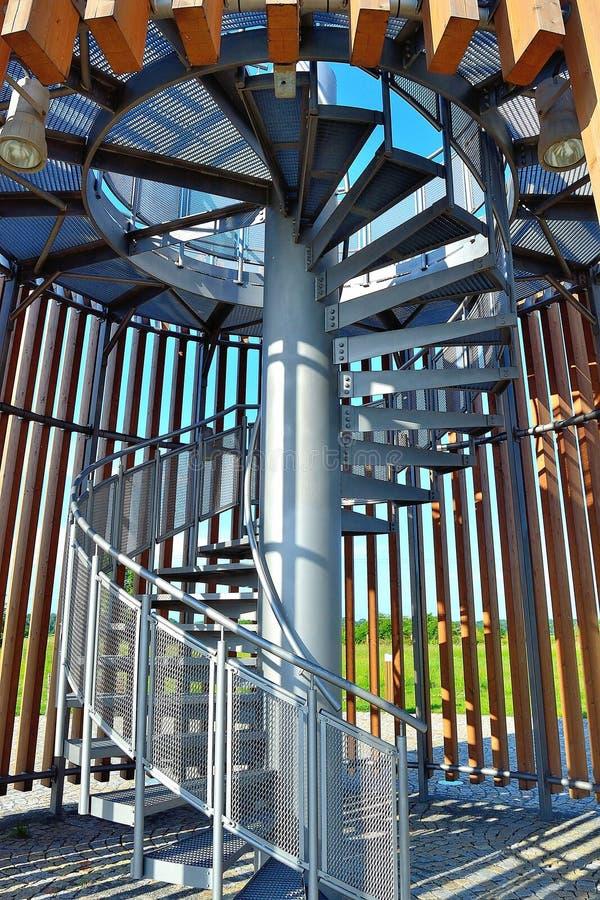捷克共和国望塔上的螺旋楼梯 免版税库存照片