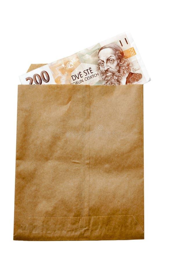 捷克共和国货币在纸张的包围 库存图片