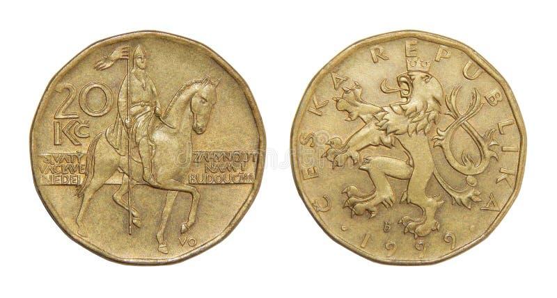 捷克冠硬币, 20 CZK cesky捷克krumlov中世纪老共和国城镇视图 图库摄影