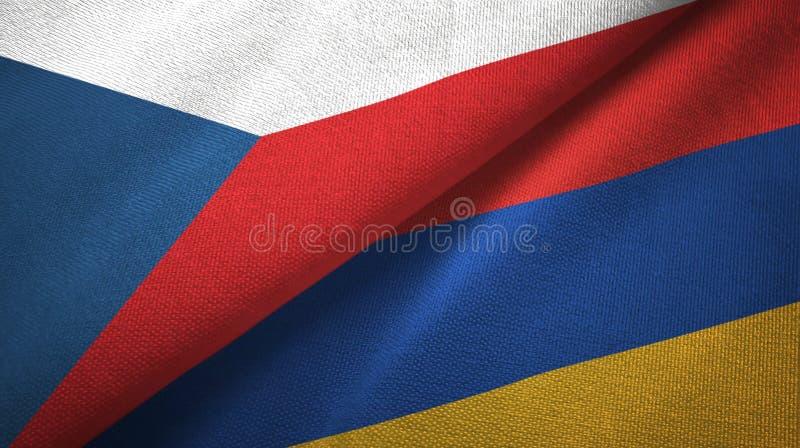 捷克和亚美尼亚两旗子纺织品布料,织品纹理 皇族释放例证