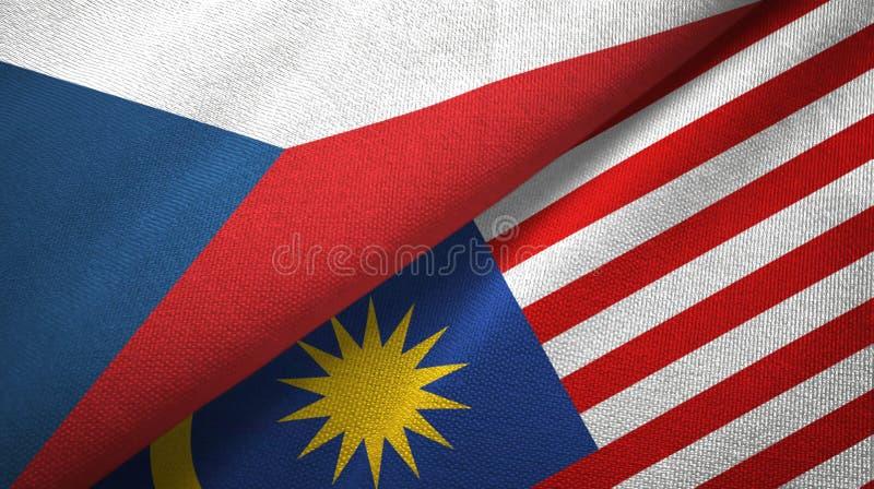 捷克和马来西亚两旗子纺织品布料,织品纹理 向量例证