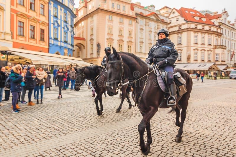 捷克在布拉格登上了警察 库存照片