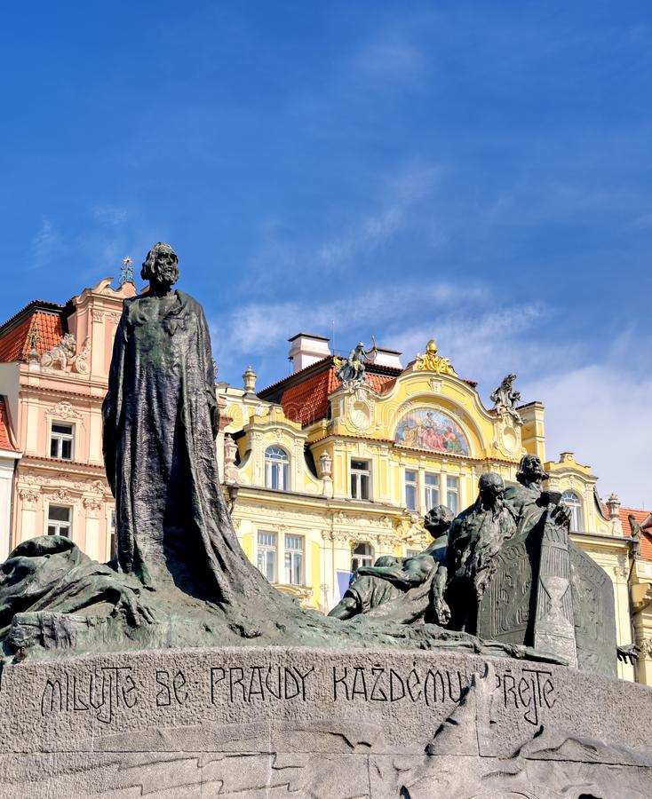 捷克布拉格的扬胡斯纪念馆 图库摄影