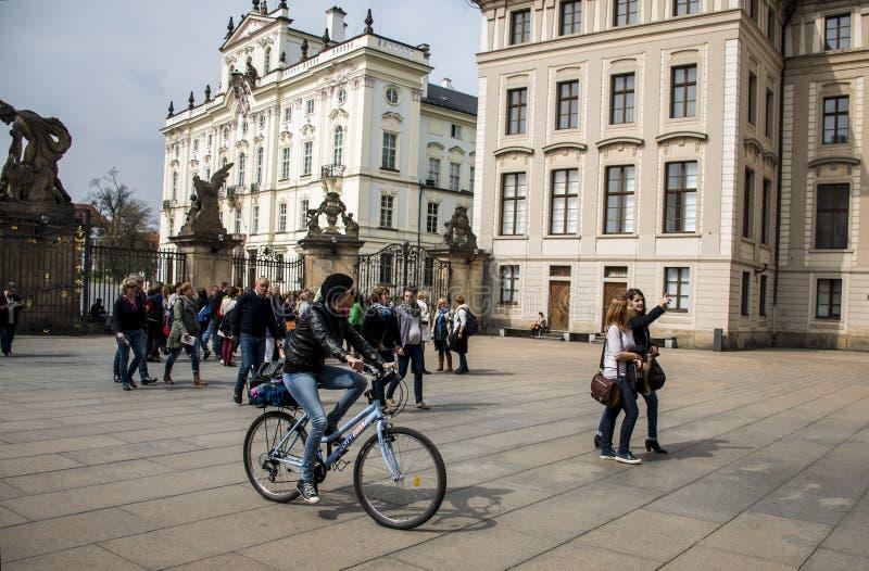 捷克布拉格11 04 2014年:循环在国会大厦城市女性使变冷的女孩在一个晴天 免版税库存照片