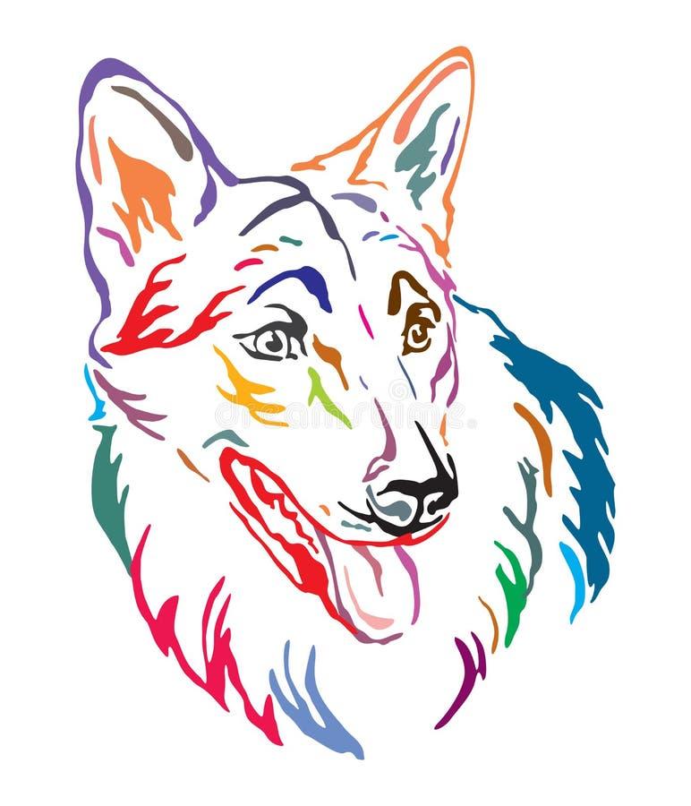 捷克斯拉夫的Wolfdog传染媒介例证五颜六色的装饰画象  皇族释放例证