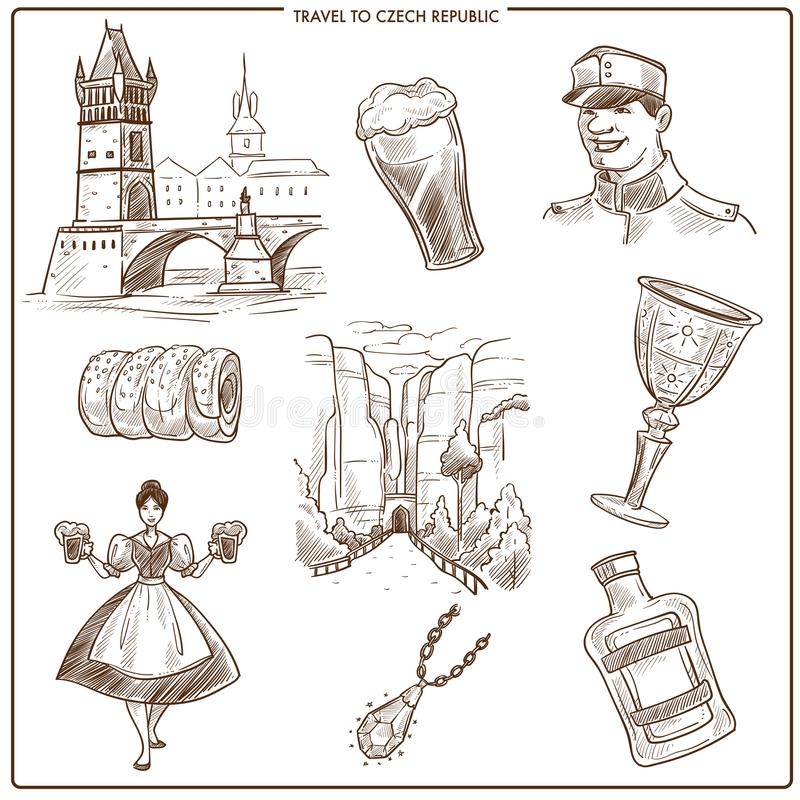 捷克旅行和布拉格传染媒介剪影标志 皇族释放例证