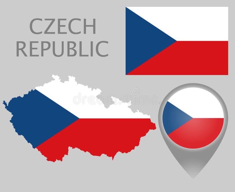 捷克旗子、地图和地图尖 向量例证