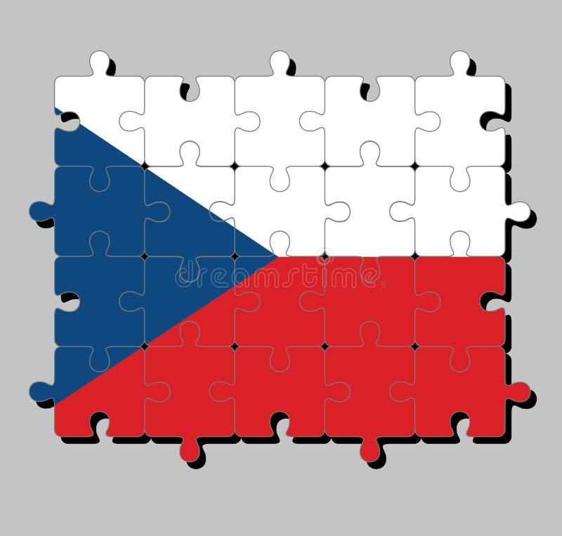 捷克旗子拼图在两均等的水平白色和红色与在卷扬机边的一个蓝色三角 皇族释放例证
