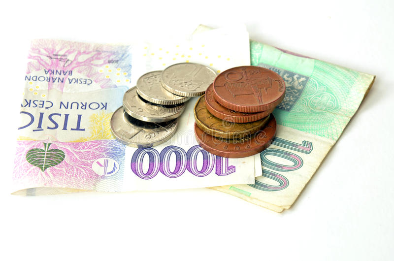 捷克硬币和钞票 免版税库存图片