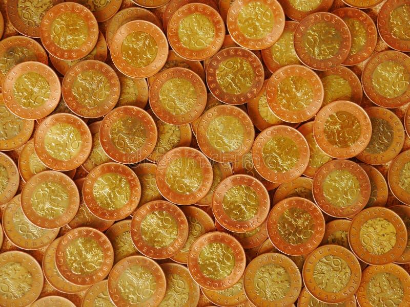 捷克硬币,五十个冠 免版税图库摄影