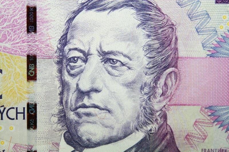 捷克细节加冠与弗朗蒂塞克帕拉茨基画象的一千张钞票 库存照片