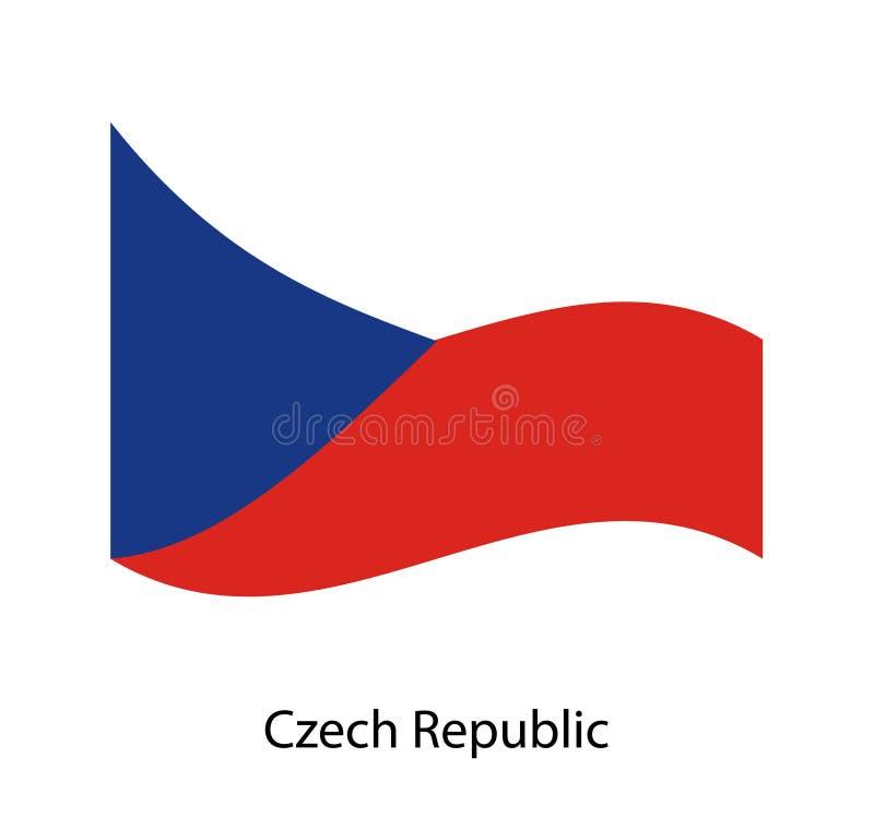 捷克被设置的传染媒介旗子 振翼在风的5面波浪3D布料信号旗 皇族释放例证