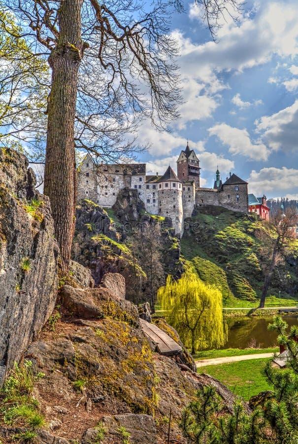 捷克语的城堡放入他的卡尔国王共和国是其中青年时期的loket 免版税库存图片