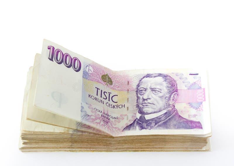 捷克语的钞票 库存图片