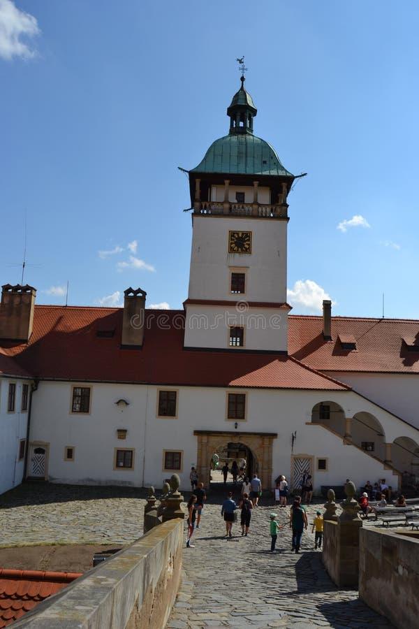 捷克语,罗马式建筑学,旅游业,城堡Bouzov,奥洛穆茨,美丽的景色,古物收藏家,高尚的家庭, 免版税库存照片