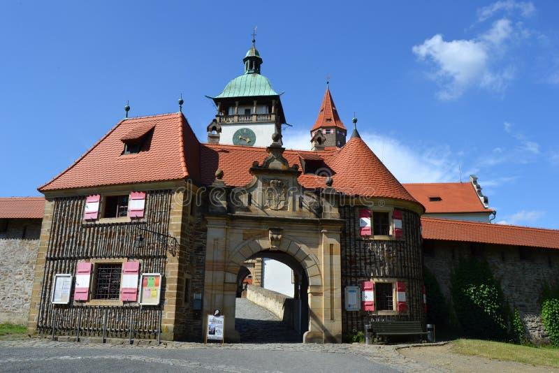 捷克语,罗马式建筑学,旅游业,城堡Bouzov,奥洛穆茨,美丽的景色,古物收藏家 图库摄影
