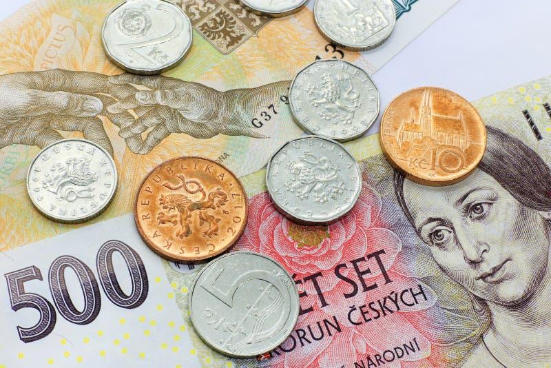 捷克金钱、钞票和硬币 库存图片