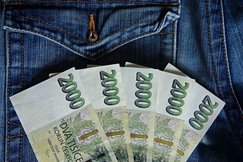 捷克钞票 库存照片