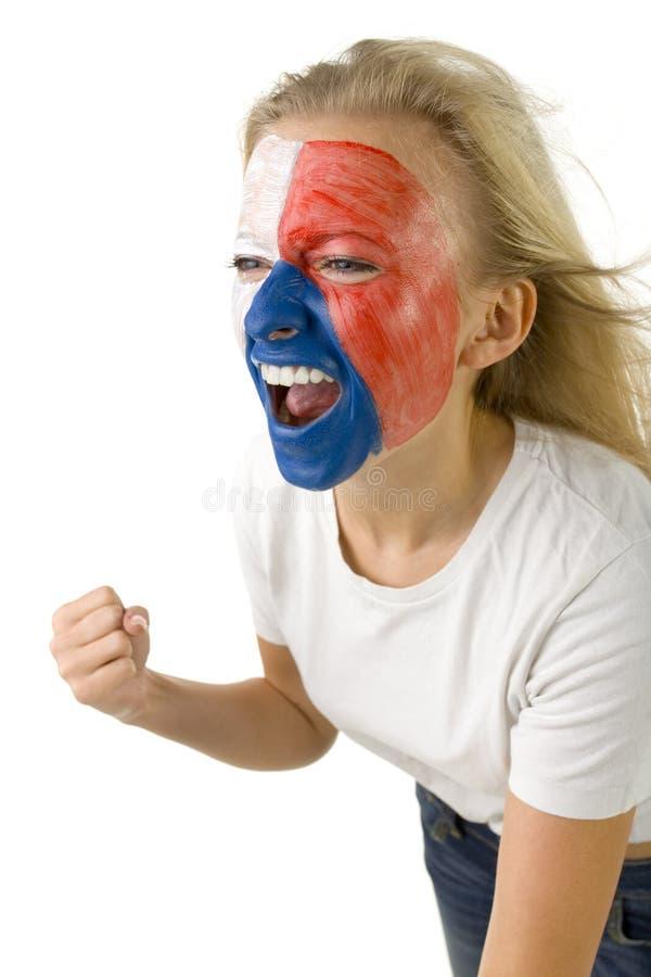 捷克风扇女性体育运动 免版税图库摄影