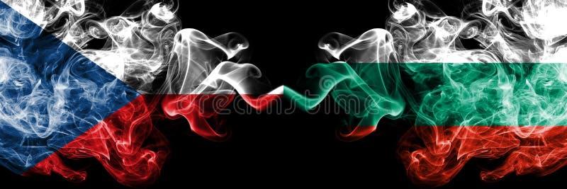 捷克,保加利亚竞争厚实的五颜六色的发烟性旗子 欧洲橄榄球资格比赛 向量例证