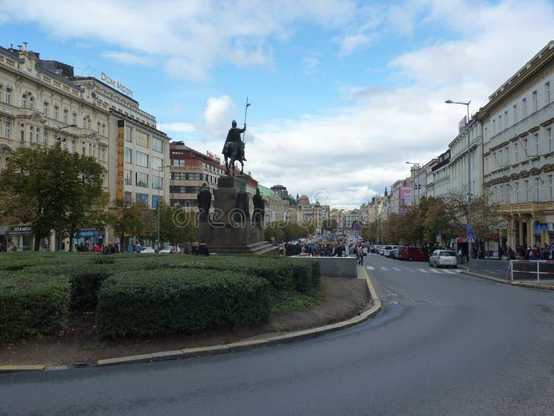 捷克,布拉格-瓦茨拉夫的广场 库存照片