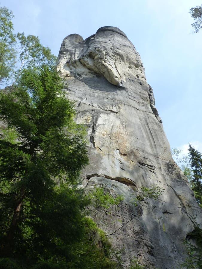 捷克,Adrszpach震动-在Adrszpach岩石的Skalne Miasto i 免版税库存图片