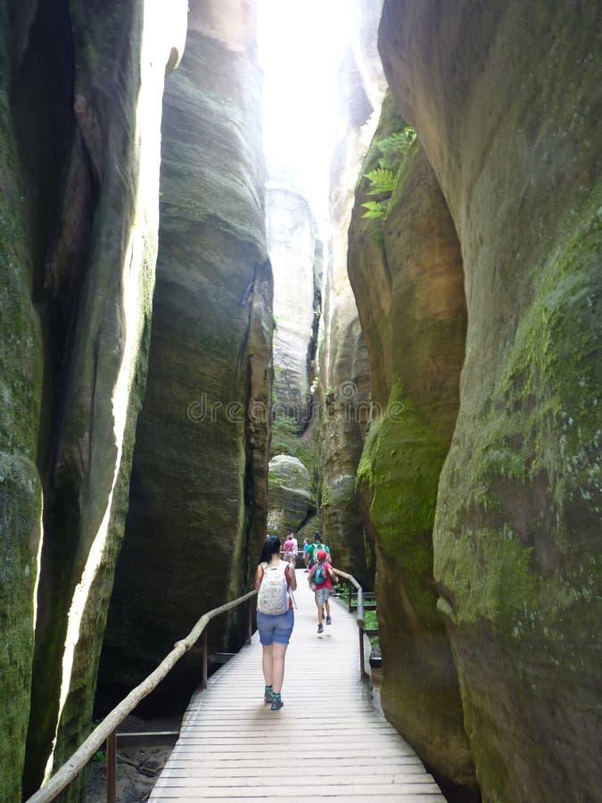 捷克,Adrszpach震动-在Adrszpach岩石的Skalne Miasto i 免版税图库摄影