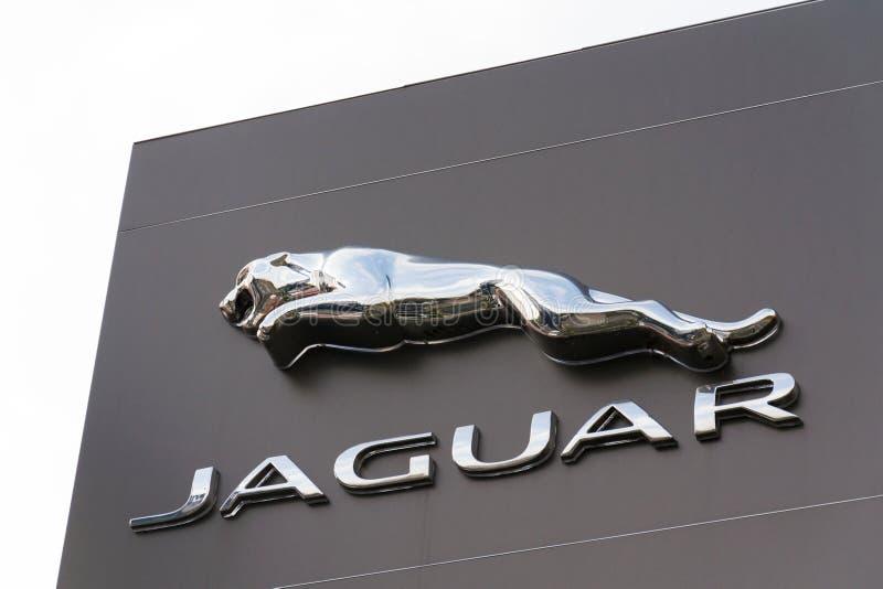 捷豹汽车车厂在经销权前面的公司商标 库存图片